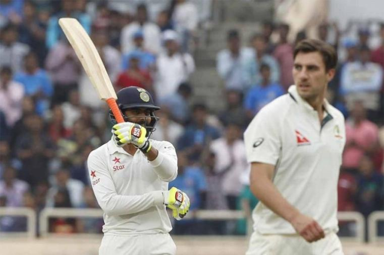 Down the order, Ravindra Jadeja clobbered a couple of sixes in his brisk unbeaten 54 to rub salt into Australia's injuries, celebrating his fifty by twirling his bat like a sword. (BCCI Photo)