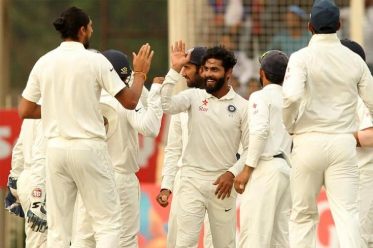Left-arm spinner Ravindra Jadeja then brightened India's victory prospects dismissing David Warner and nightwatchman Nathan Lyon cheaply to reduce Australia to 23-2. (AP Photo)