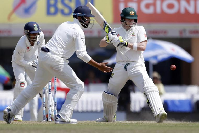 Australia's captain Steven Smith, right, bats during the fifth day of the Ranchi Test. (AP Photo)