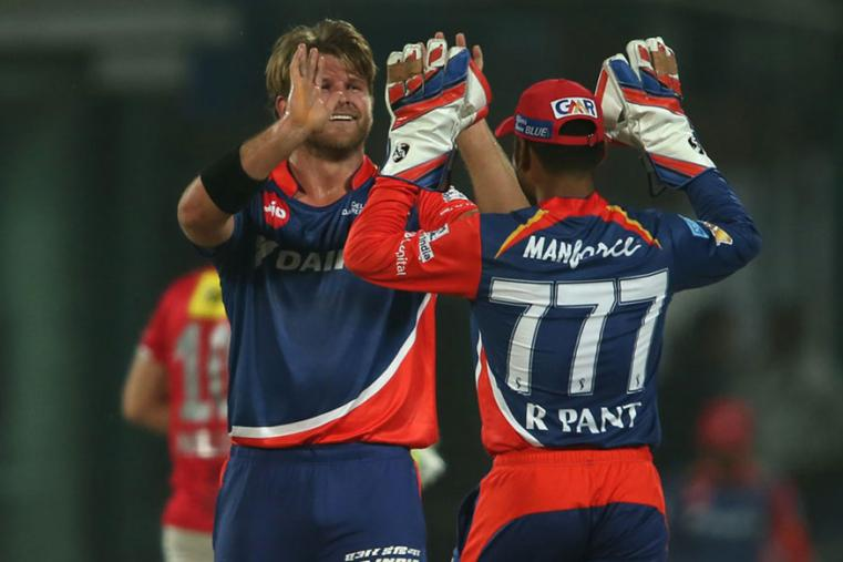 Corey Anderson celebrates with Rishab Pant after taking a wicket against KXIP. (BCCI Photo)