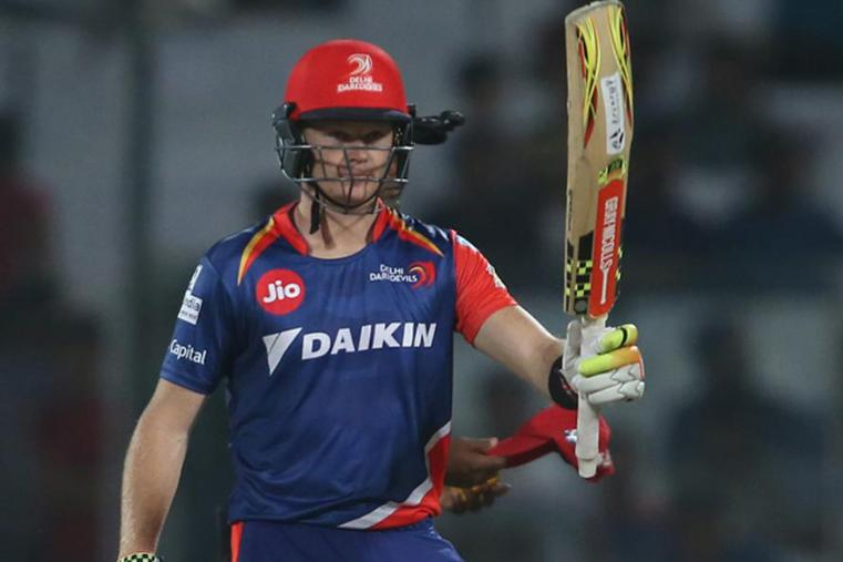 Sam Billings show his bat to the crowd after hitting a half-century against KXIP. (BCCI Photo)