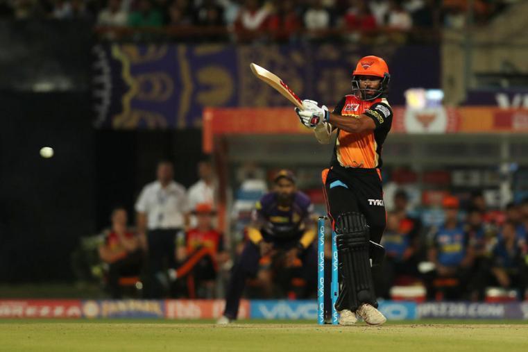 Shikhar Dhawan hits a shot during the match against KKR (BCCI Photo)