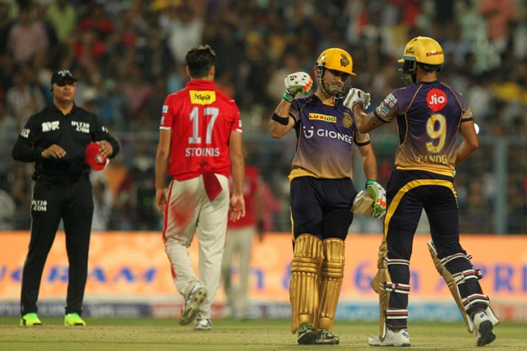Gautam Gambhir and Manish Pandey celebrate after the latter hit the winning runs against KXIP. (BCCI Photo)
