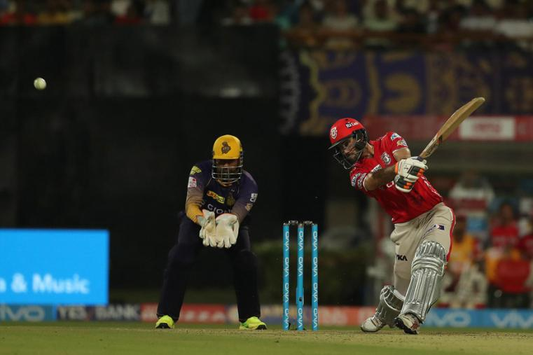 Glenn Maxwell hits a shot during KXIP's match against KKR. (BCCI Photo)