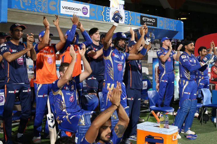 Mumbai Indians dugout celebrating the win over RCB. (BCCI Photo)
