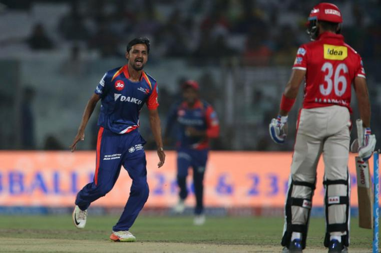Shahbaz Nadeem reacts after taking a wicket against KXIP. (BCCI Photo)