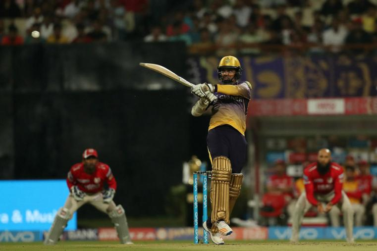 Sunil Narine hits a shot during KKR's match against KXIP. (BCCI Photo)