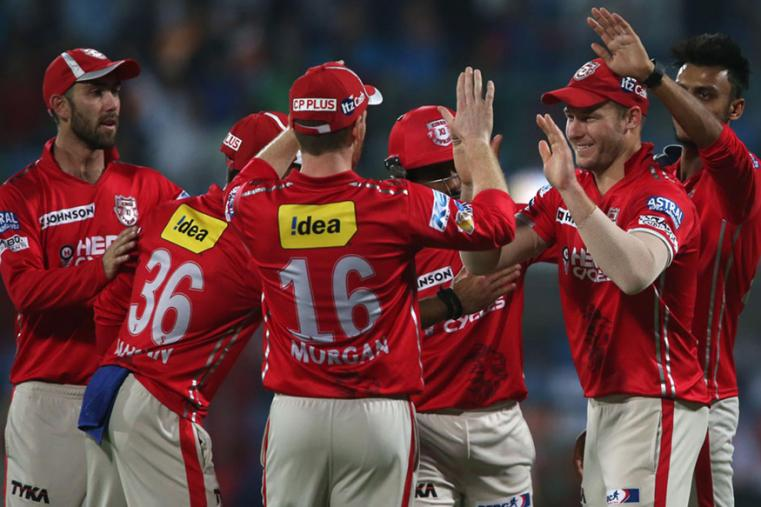KXIP players celebrates a wicket during the match against DD. (BCCI Photo)