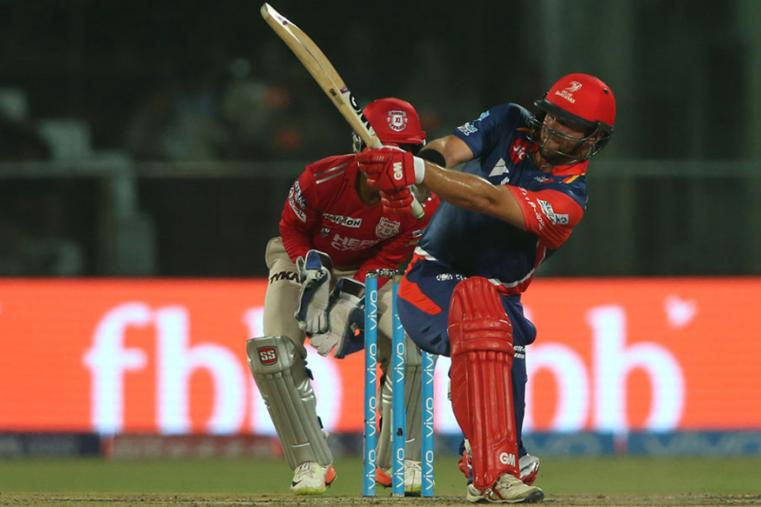 Corey Anderson hits a shot during the match against KXIP.(BCCI Photo)