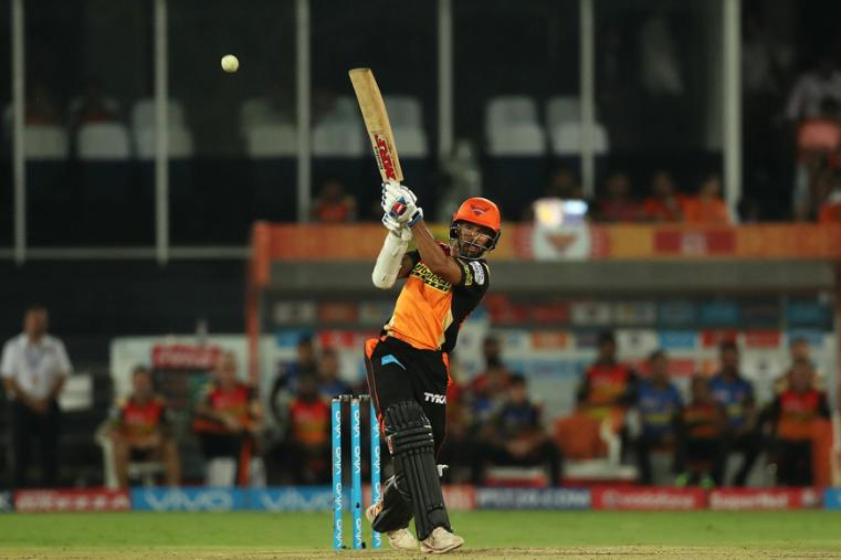 SRH opener Shikhar dhawan hits a boundary during his knock of 70 on Wednesday. (BCCI Photo)
