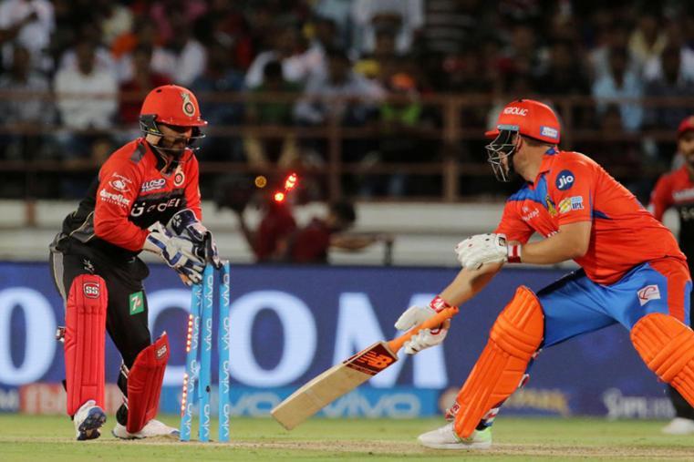 RCB wicket-keeper Kedar Jadhav stumps Aaron Finch off Pawan Negi's bowling. (BCCI Photo)