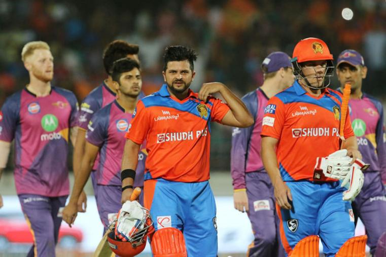 Suresh Raina and Aaron Finch walk off after guiding GL to victory of RPS. (BCCI Photo)