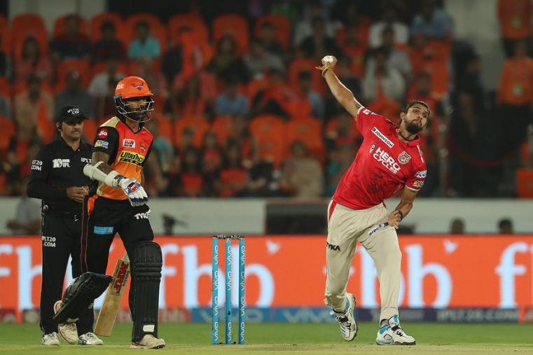 KXIP bowler Ishant Sharma in action against Sunrisers Hyderabad on Monday. (BCCI Photo)