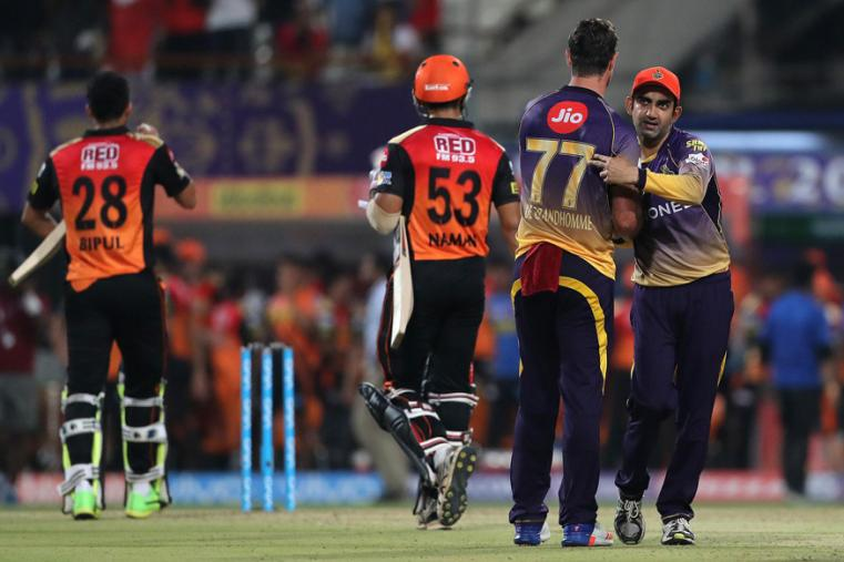 Gautam Gambhir celebrates after winning the match against SRH. (BCCI Photo)