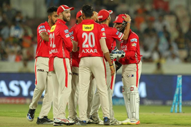 KXIP players celebrate the fall of a Hyderabad wicket on Monday. (BCCI Photo)