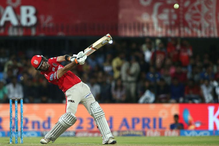KXIP skipper Glenn Maxwell hits a maximum during his knock of 40 from 18 balls on Thursday. (BCCI Photo)
