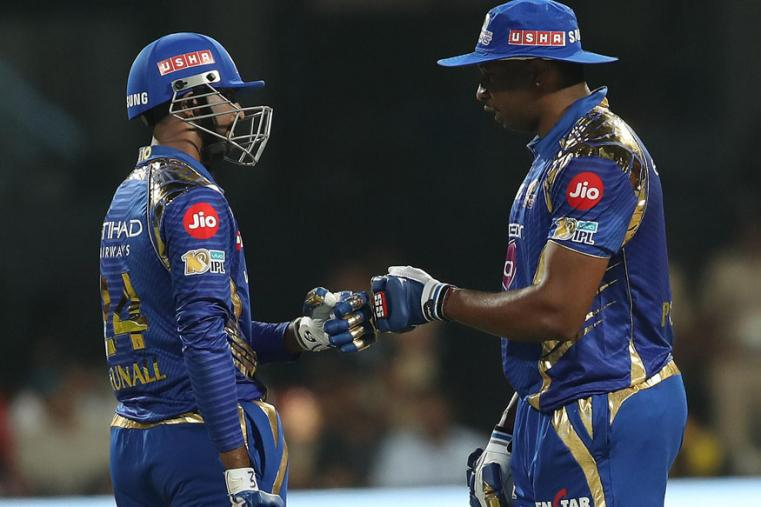 Keiron Pollard (R) and Krunal Pandya after the West Indian hit a boundary against RCB (BCCI Photo)