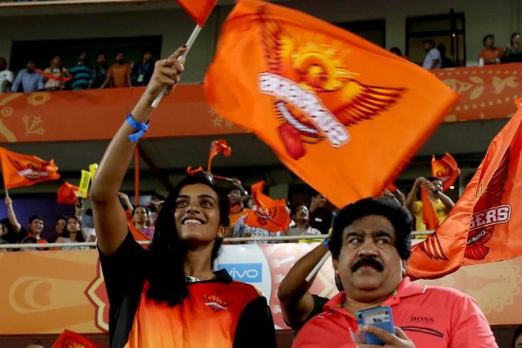 Badminton player PV Sindhu supports SRH at the Rajiv Gandhi International Stadium in Uppal . (BCCI Photo)