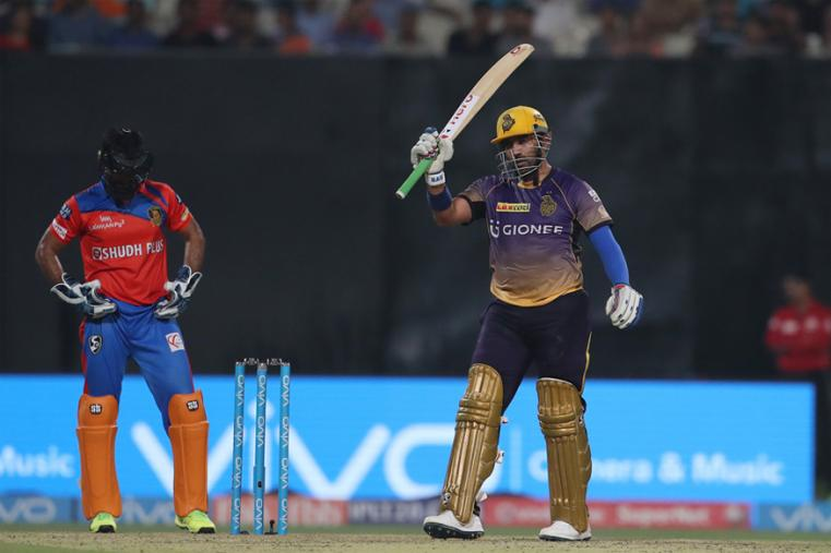 Robin Uthappa slammed his second half-century of the tournament while Narine played a cameo at the top as Kolkata Knight Riders toyed with Gujarat Lions lacklustre attack to post a commanding 187 for five. (BCCI Photo)