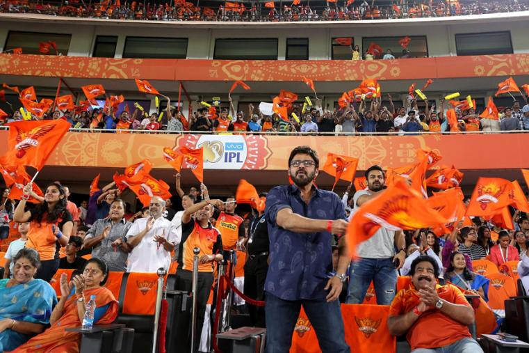 South Indian actor Venkatesh cheers for Hyderabad on Monday. (BCCI Photo)