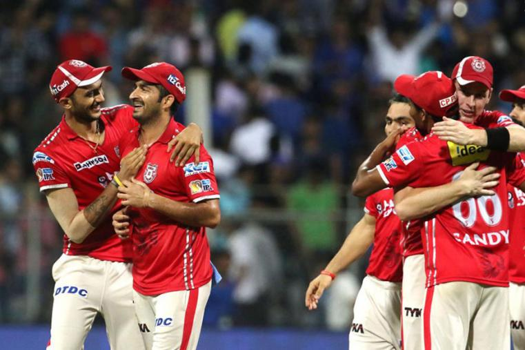 KXIP players celebrate after their win against MI. (BCCI)
