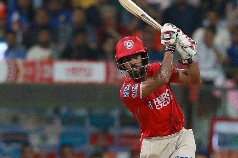 Wriddhiman Saha plays a shot during the match against MI. (BCCI)