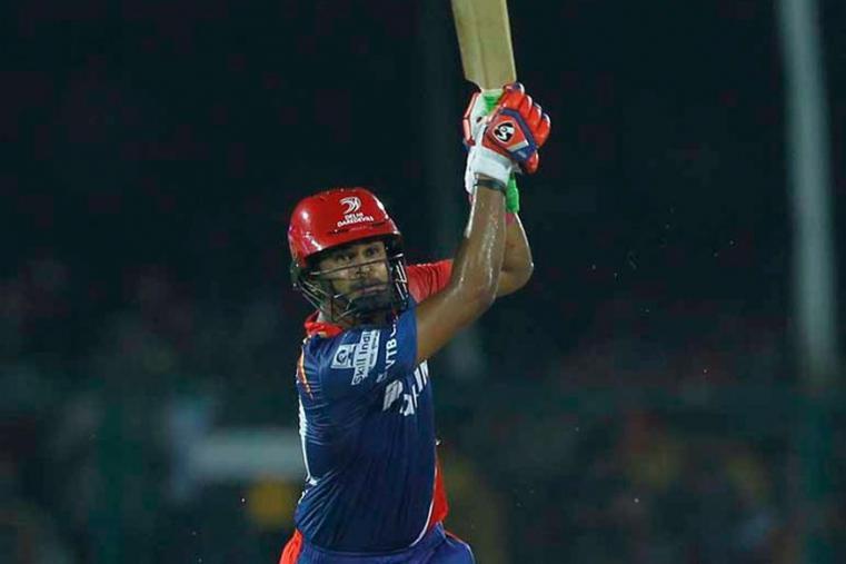 Shreyas Iyer hits a shot during the match against GL. (BCCI Photo)