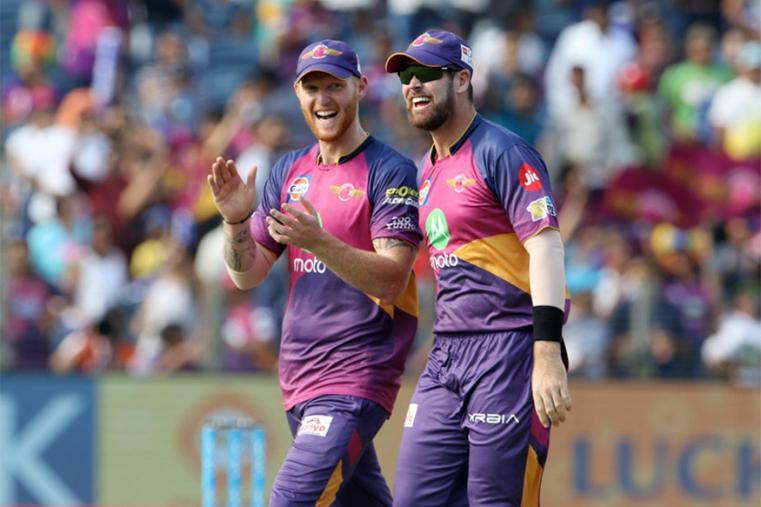 Ben Stokes celebrates a KXIP wicket with Dan Christian. (BCCI Photo)