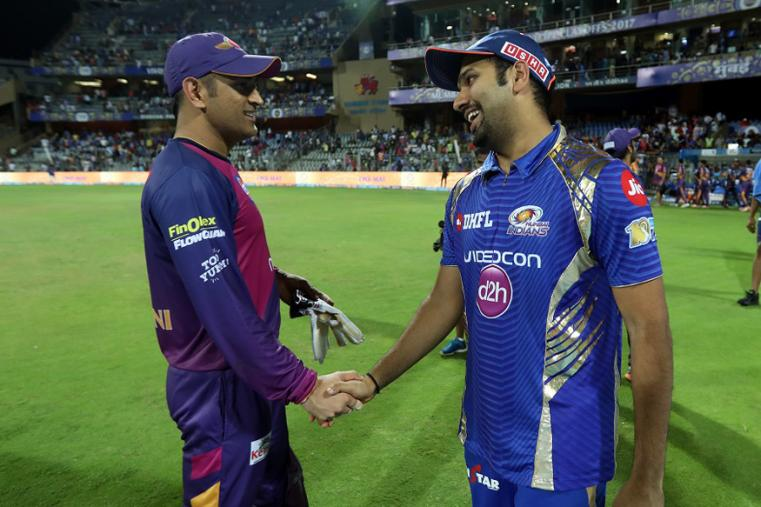 MS Dhoni of Rising Pune Supergiant and Mumbai Indians captain Rohit Sharma after  The Qualifier 1 match (BCCI Photo)