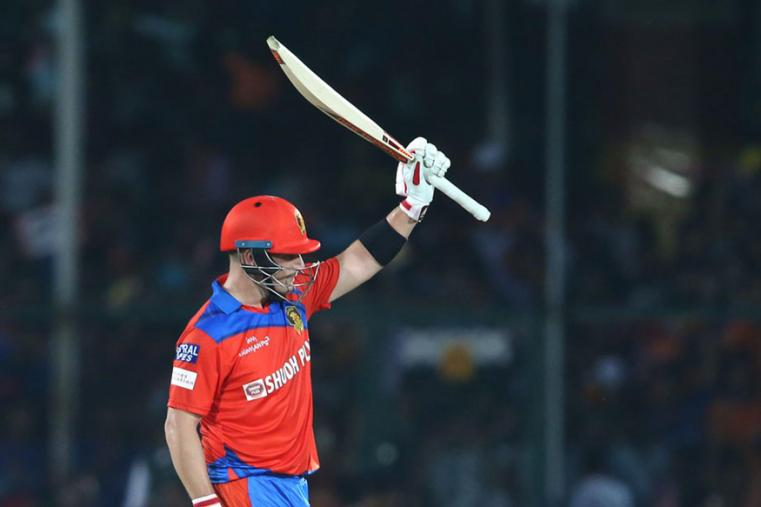 Aaron Finch celebrates after scoring a half-century against DD. (BCCI)