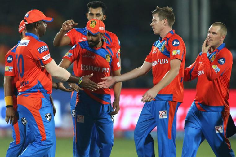 Gujarat players celebrate after a wicket during the match against DD. (BCCI)