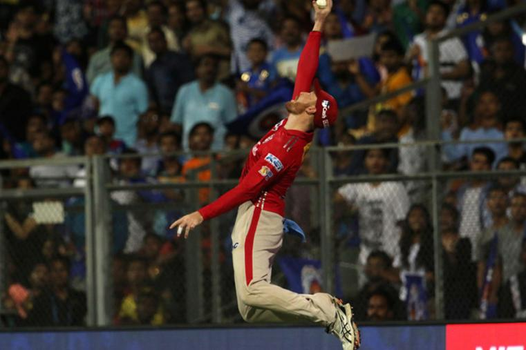 Martin Guptill jumps in the air to take a one-hand catch. (BCCI)