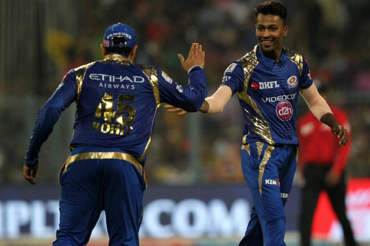 Hardik Pandya celebrate a wicket with Rohit Sharma against KKR. (BCCI Photo)