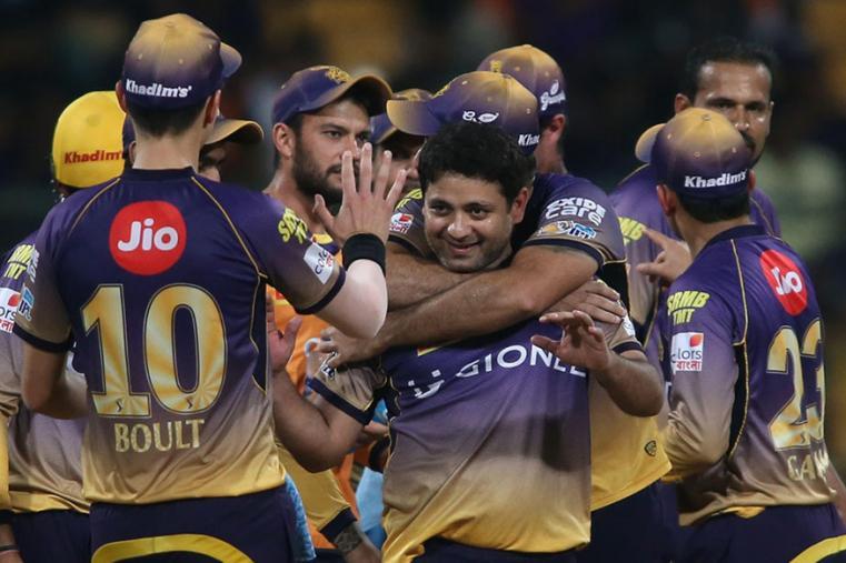 Piyush Chawla celebrates after taking a wicket against SRH. (BCCI)