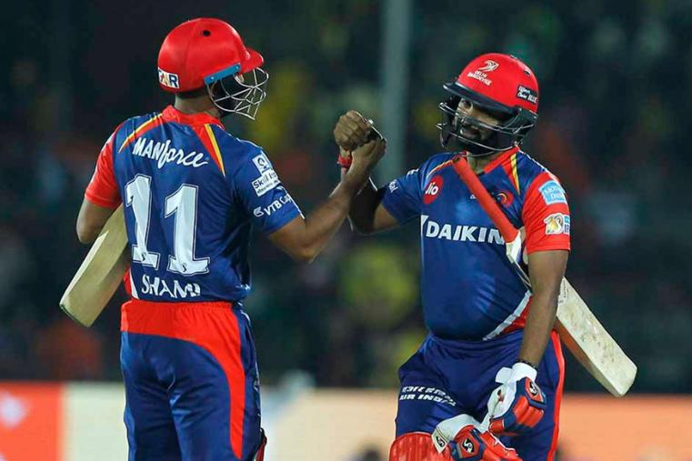Amit Mishra and Mohammed Shami celebrate after DD's victory over GL. (BCCI)