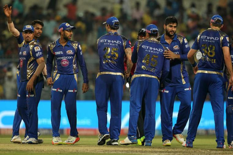 Mumbai Indians' players celebrate their victory over KKR. (BCCI Photo)