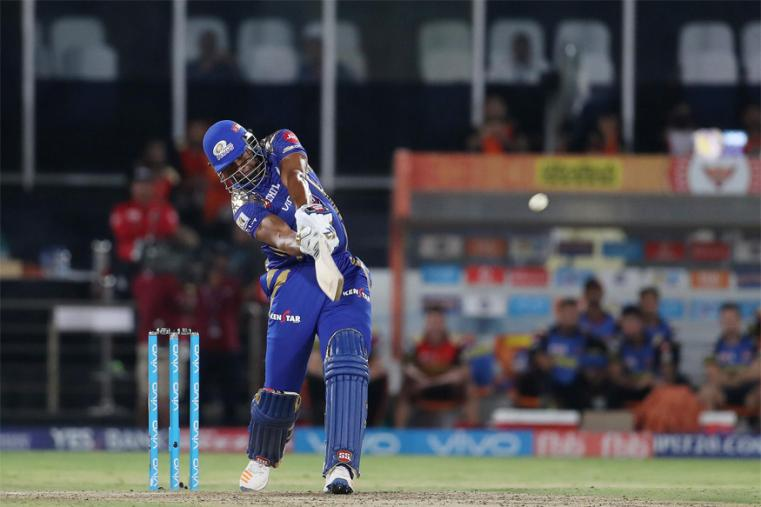 Kieron Pollard scored just 5 runs before being dismissed by Bhuvneshwar Kumar. (BCCI Photo)