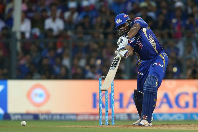 Kieron Pollard of the Mumbai Indians drives a delivery during The Qualifier 1 match. (BCCI Photo)