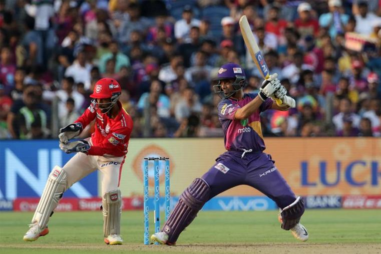 Ajinkya Rahane hits a shot during the match against KXIP. (BCCI Photo)