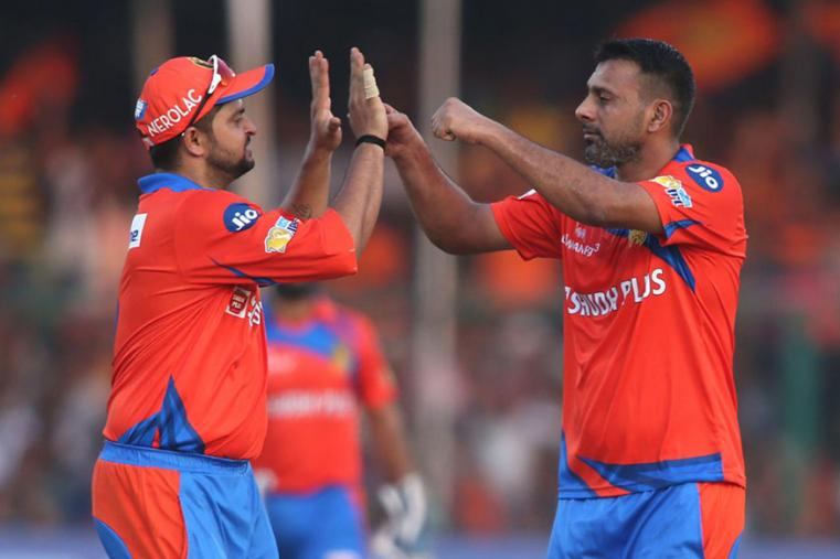 Praveen Kumar celebrates after taking a wicket against SRH. (BCCI Photo)