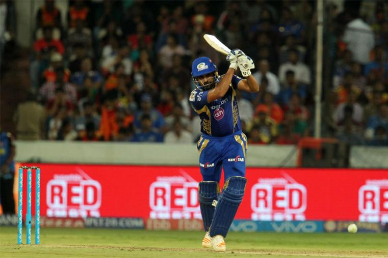 Skipper Rohit Sharma led Mumbai Indians' slow recovery with a 67-run knock but Surisers Hyderabad succeeded in restricting the table-toppers to a modest 138 for seven. (BCCI Photo)