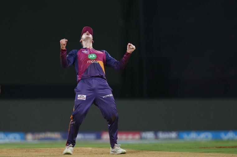 Rising Pune Supergiant captain Steven Smith celebrates taking the catch to get Kieron Pollard of the Mumbai Indians wicket during The Qualifier 1 match. (BCCI Photo)