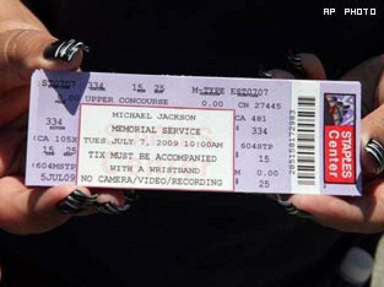 Scalpers selling Jackson memorial tickets online