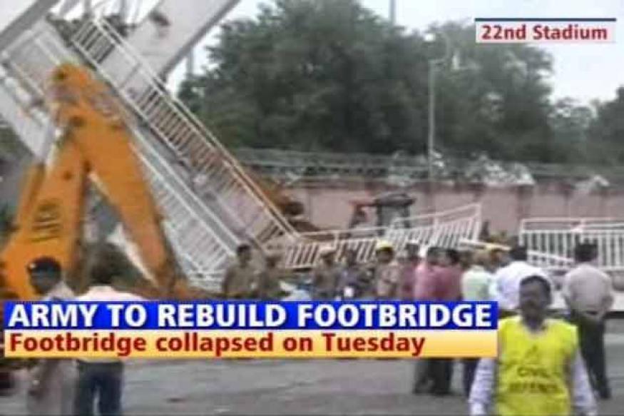 Army to rebuild collapsed footbridge at stadium