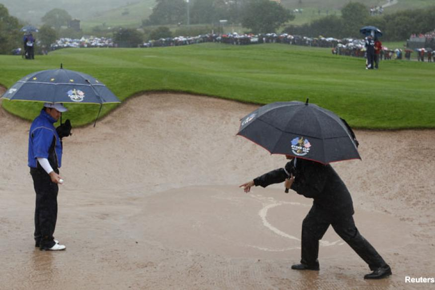 Ryder Cup: Europe gains control on rain-hit day