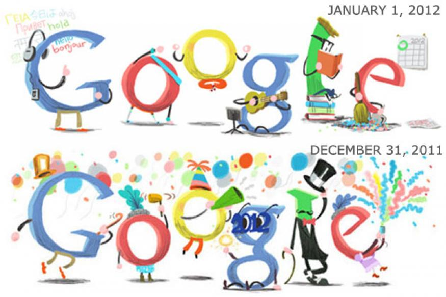 Google doodles New Year's Day