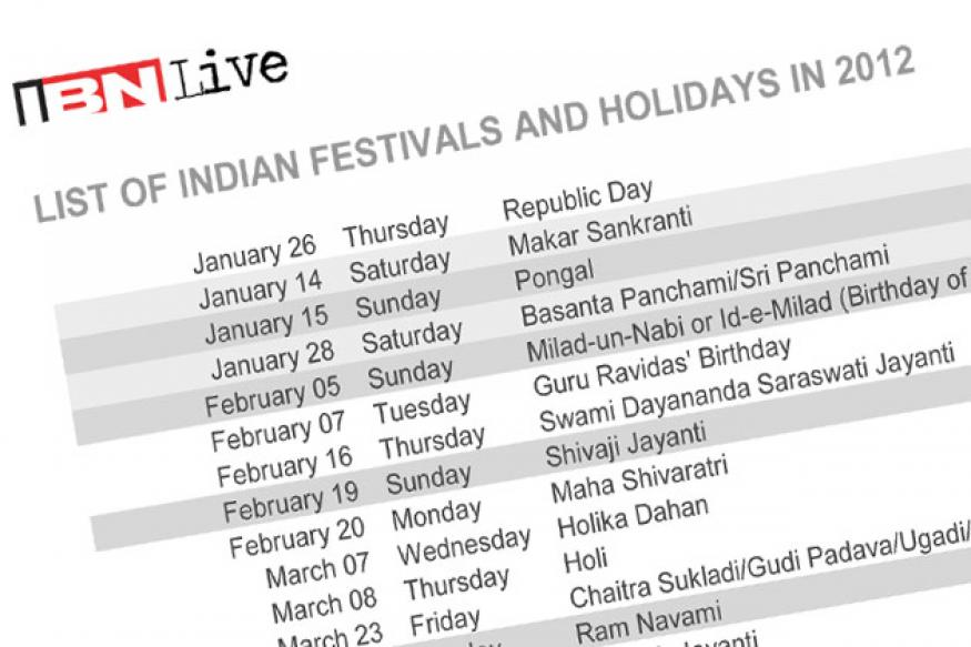 Download: Calendar 2012 with holidays and Indian festivals
