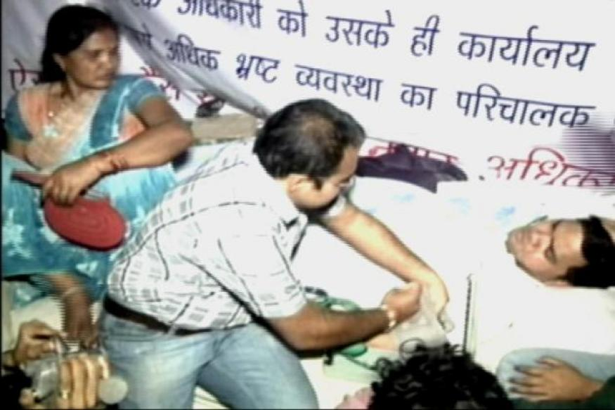 UP: Protesting officer evicted, taken to hospital
