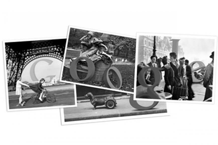 Robert Doisneau's birth centenary Google doodle