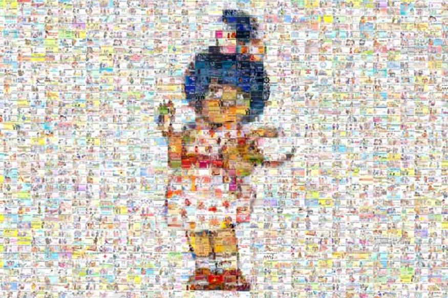 An Amul girl image made up of 1432 Amul ads